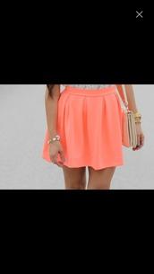 skirt,coral,skater skirt