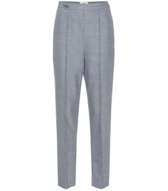 Fendi Wool-blend straight pants in blue