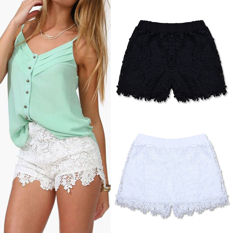 FanShou Free Shipping 2014 European Fashion Spring Summer Women Shorts Elastic High Waist Lace Shorts Casual Short Pants 6258-in Shorts from Apparel & Accessories on Aliexpress.com