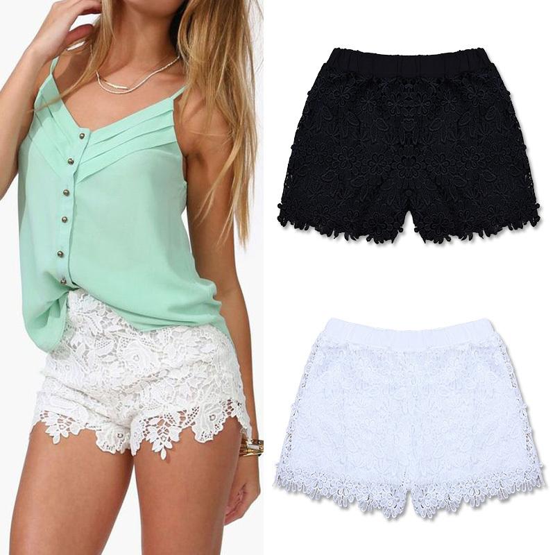 Fanshou free shipping 2014 european fashion spring summer women shorts elastic high waist lace shorts casual short pants 6258