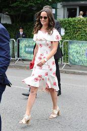 dress,midi dress,sandals,summer dress,summer outfits,pippa middleton,floral,floral dress