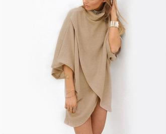 dress girly girly wishlist girl nude turtleneck sweater dress asymmetrical