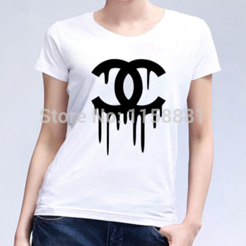 New 2014 summer women's t shirt dripping diamond cc girls casual blouse dress classic top tee shirt free shipping