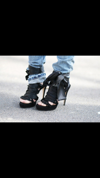 shoes ribbon black black heels black ribbon black ribbon heels high heels fancy
