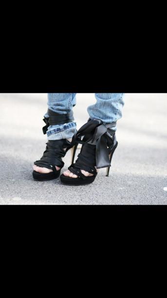 shoes black black heels ribbon black ribbon black ribbon heels heels high heels fancy