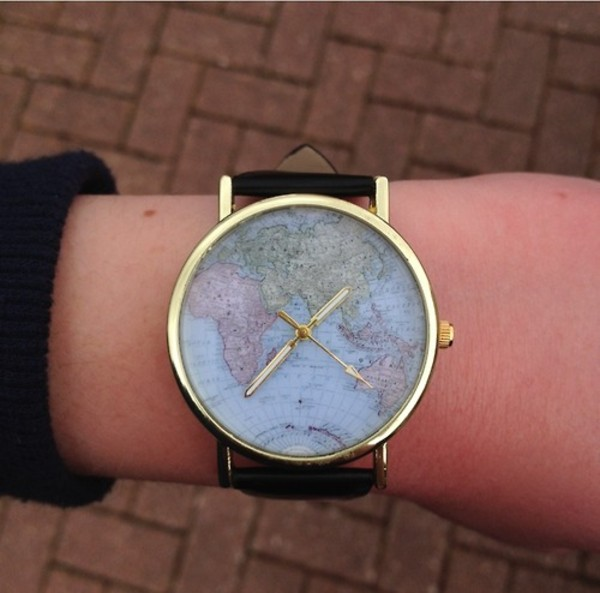New fashion world map globe leather alloy womens vintage analog new fashion world map globe leather alloy womens vintage analog quartz watches ebay gumiabroncs Gallery