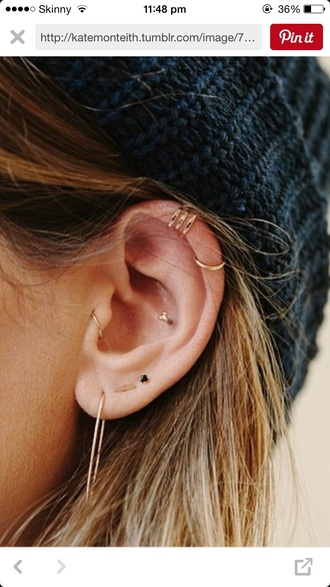 jewels earrings small peircing jewelry gold ear cuff