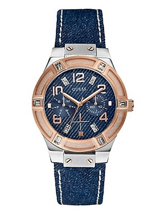 Silver and Rose Gold-Tone Denim Watch at Guess