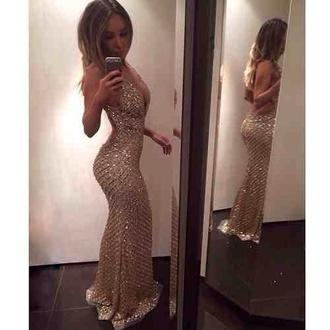 dress prom gold shiny sparkle long prom dress