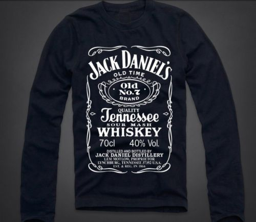 New Jack Daniel's Label Mens Long Sleeve T Shirt Tennessee Whiskey Quality 47 | eBay