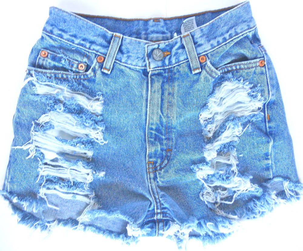 Terrafied  — Faded Blue High-waisted Shorts