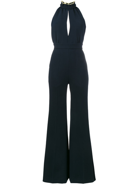 jumpsuit back open open back women blue silk