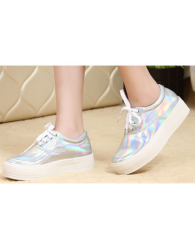 Metallic leather sneakers new fashion brand flat heels platform