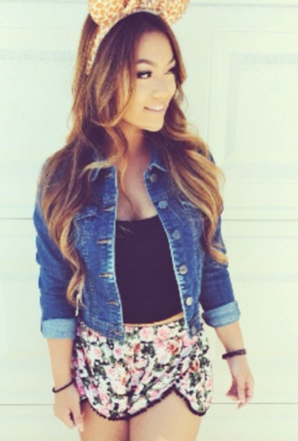 shorts instagram girl lovely outfit like tumblr flowers amazing jacket