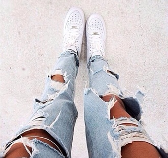 jeans air force 1 nike white denim ripped jeans grunge boyfriend jeans shoes