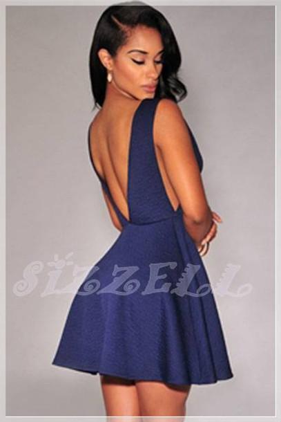 324406060758 dress blue dress skater dress deep v cut-out dress