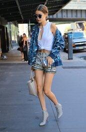 top,shorts,streetstyle,NY Fashion Week 2016,model off-duty,ankle boots,sunglasses,jacket,crop tops,gigi hadid
