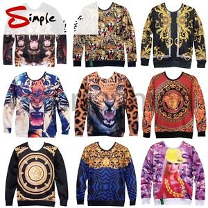 Womens Mens Space Galaxy 3D Animal Scenery Sweatshirt Sweater Hoodies Top Jumper | eBay
