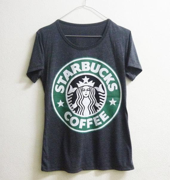 Short sleeve tshirt size S L Dark grey Starbucks tshirt coffee mermaid star crew neck women t shirts