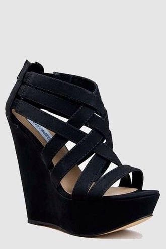 shoes black suade straps wedges