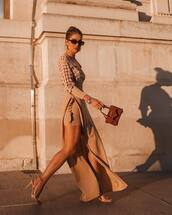 skirt,asymmetrical skirt,high heel sandals,handbag,mini bag,shirt,sunglasses,earrings
