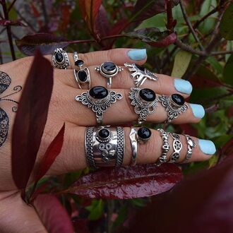 jewels cherry diva onyx gypsy knuckle ring ring boho boho chic jewelry boho jewelry sterling silver rings