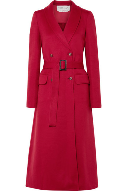 Gabriela Hearst - Joaquin Double-breasted Pleated Cashmere Coat - Red