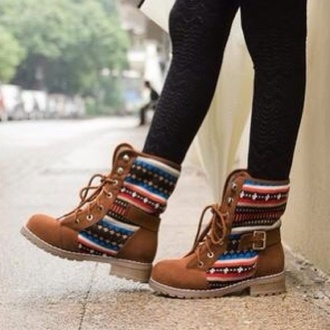 shoes boots brown brown boots tribal pattern laces tribal boots native ethnic aztec aztec boots geometric combat boots indian boots brown shoes timberlands
