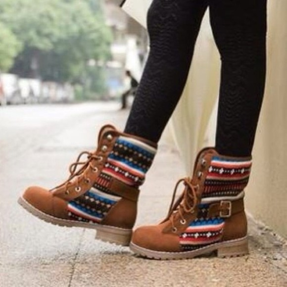 brown shoes shoes combat boots indian boots tribal boots brown laces aztec brown boots tribal print tribal boots native ethnic aztec boots geometric