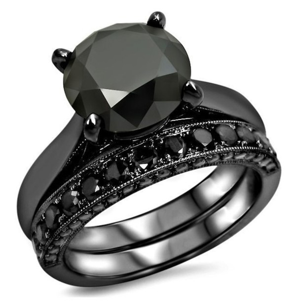 jewels ring set evoleescom bridal ring set excellent 313 ct black round cut cubic - Black Gold Wedding Ring Sets