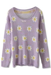 sweater,daisy,floral,knit,purple