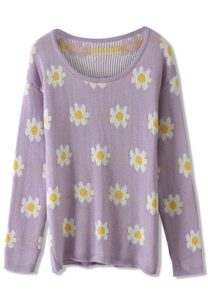 sweater daisy floral knit purple
