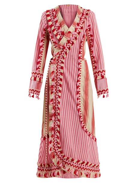 dress wrap dress embroidered cotton red