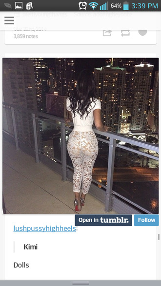 pants white lace pants white pants