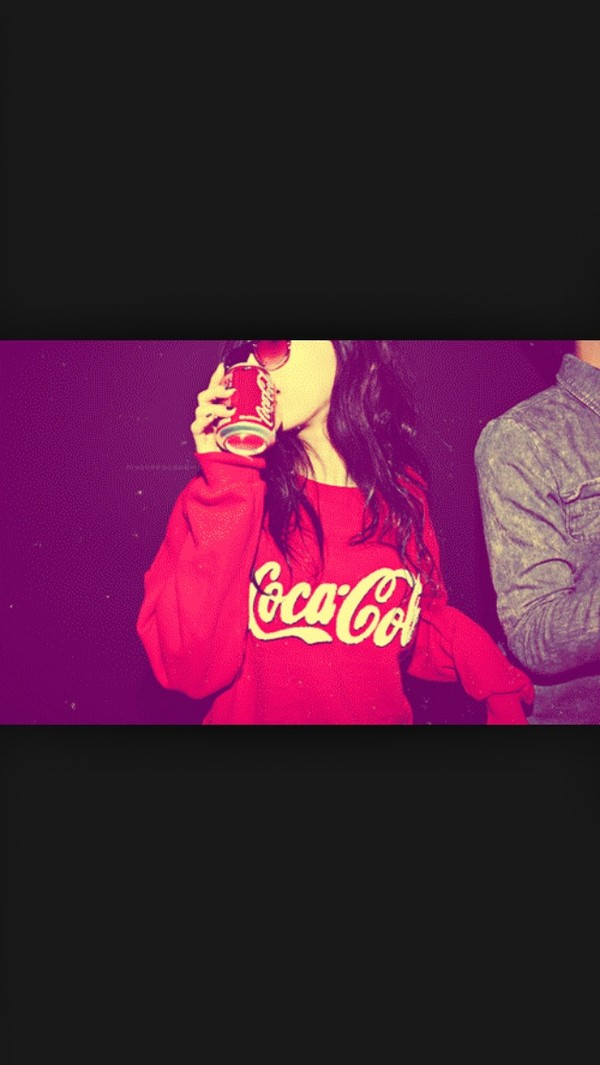 sweater red sweater red cute lovely coca cola coke