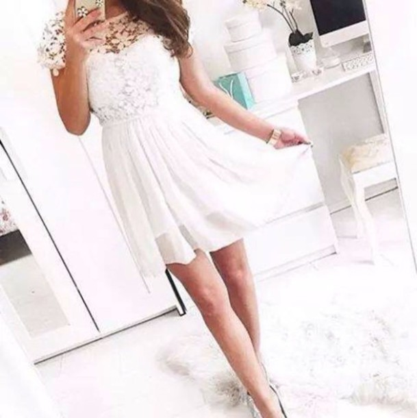 dress short dress white dress white floral dress