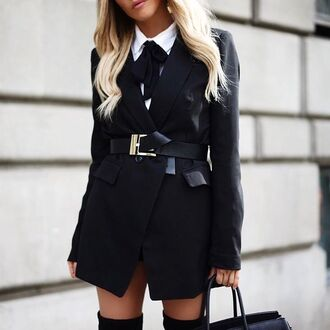 coat tumblr black blazer blazer belt black belt back to school school uniform