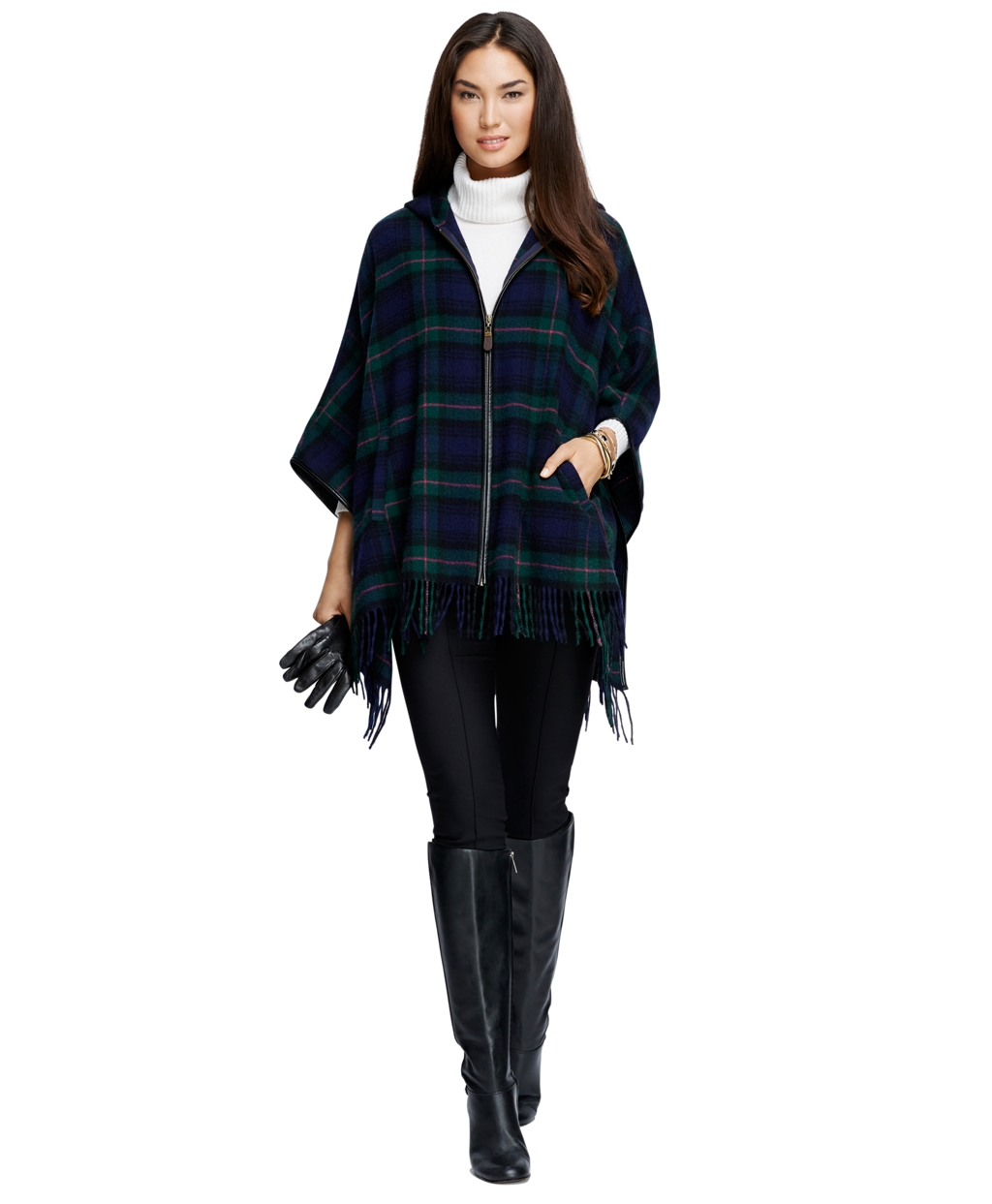 Wool Black Watch Plaid Zip-Front Poncho - Brooks Brothers