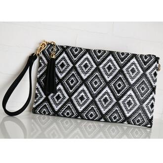 bag geometric pattern black and white clutch amazinglace.com amazinglace