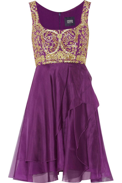 dress embellished tulle and silk-chiffon dress notte by marchesa