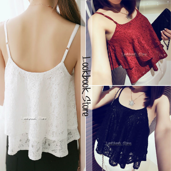 Women lace double layers lace overlay adjustable shoulder straps crop top tank