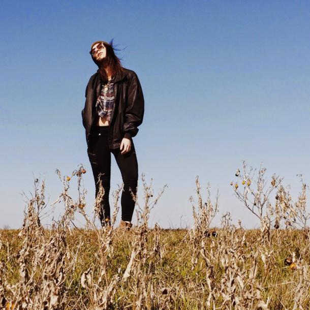 simply hope style blogger bomber jacket shirt jacket pants shoes sunglasses