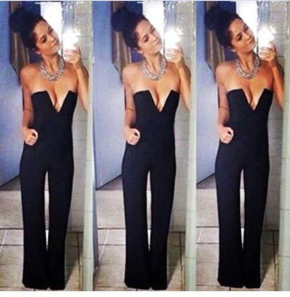 jumpsuit black black jumpsuit romper black romper cute outfit deep v neck plunge v neck strapless