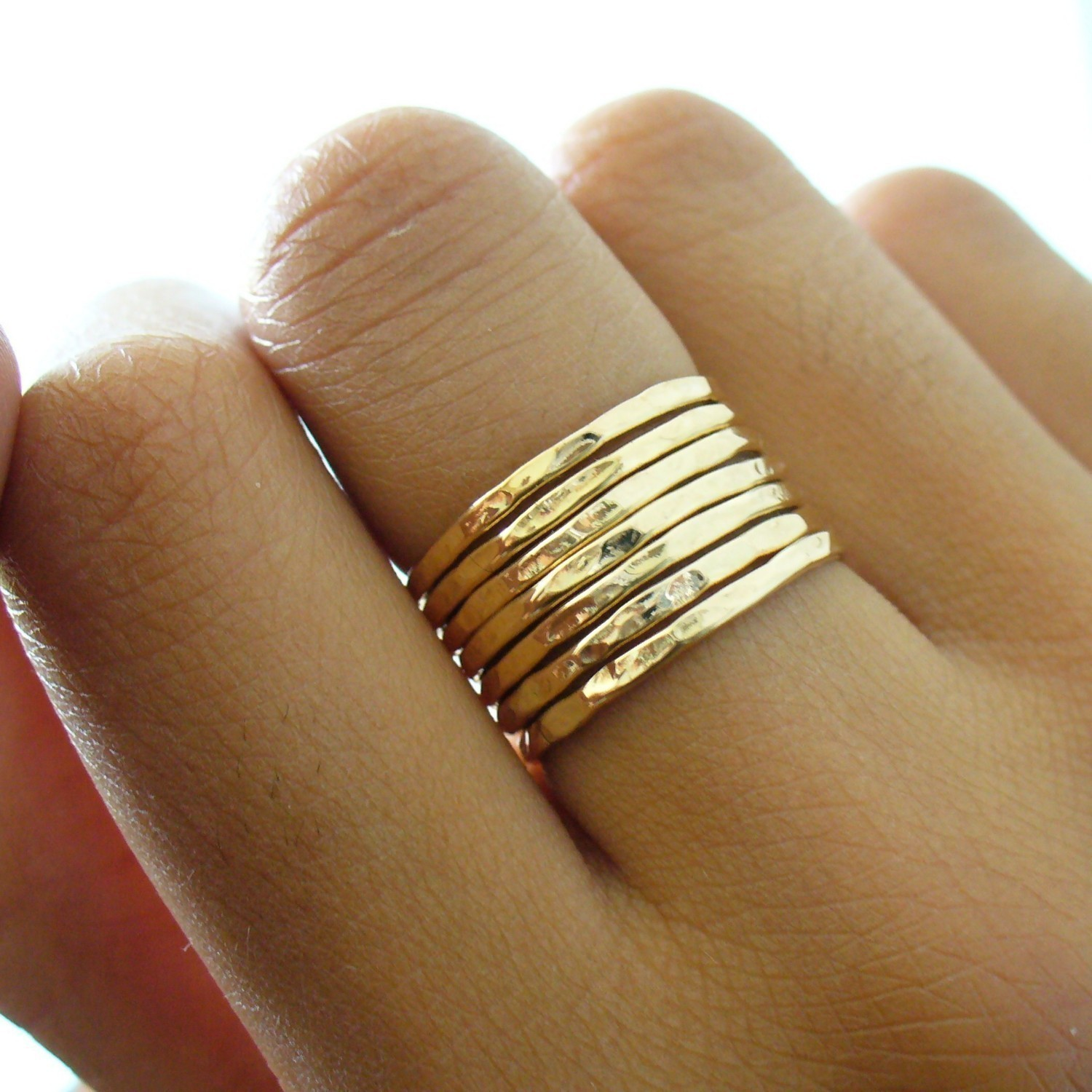 Gold Stack Ring Hammered 7 Band Gold Stacking Ring Set