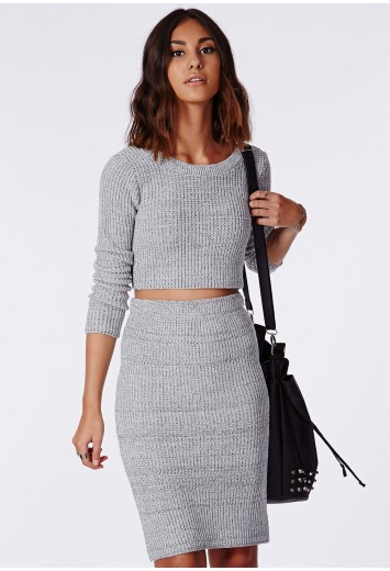 Casey knitted scoop neck crop top grey