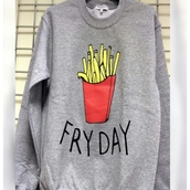 sweater,fries,grey sweater,red,sweatshirt,cozy sweater,oversized,oversized sweater