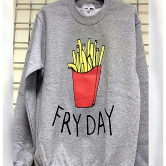 sweater fries grey sweater red sweatshirt cozy sweater oversized oversized sweater