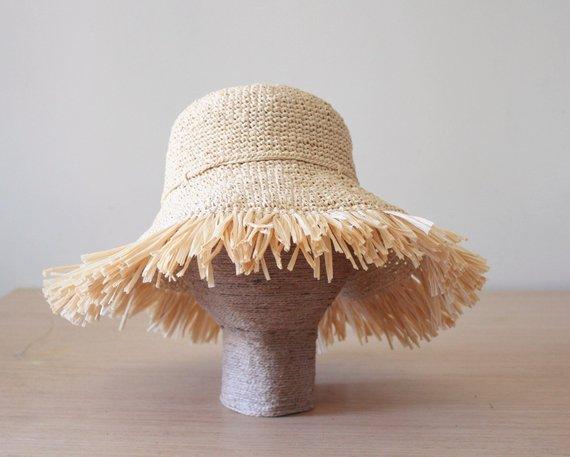 Beach raffia straw crochet sun hat Womens, Frayed fringe wide brim hat, Packable sun hat