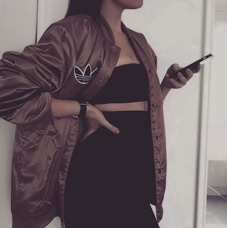 jacket brown cute fall outfits winter outfits bomber jacket khaki bomber jacket adidas adidas jacket