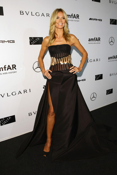 heidi klum dress fashion week 2014 maxi dress